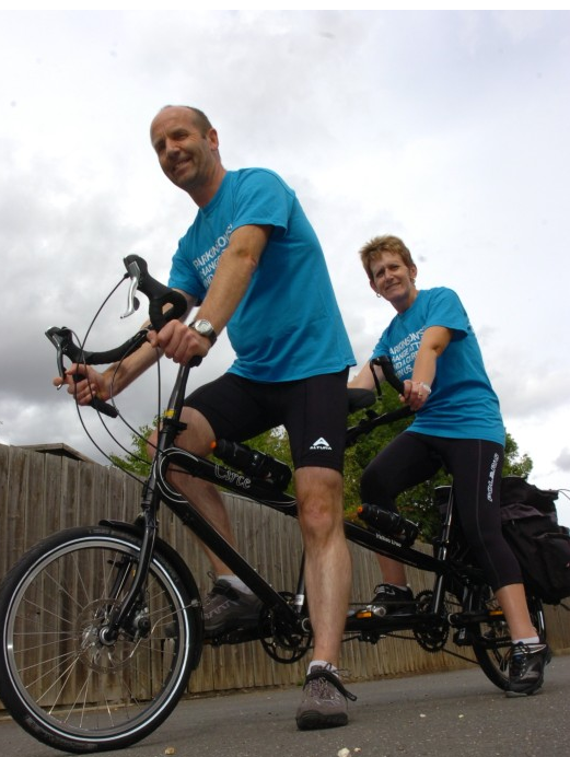 Marjorie and Clif Abbott on their Helios tandem
